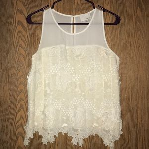 Greylin White Embroidered Tank Top